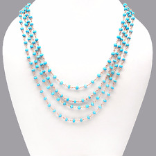 "Turquoise 3-3.5 mm Rose Gold Plated Gemstone Beads 18"" Long Necklace Chain Sale"
