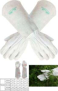 Thorn Proof Goatskin Leather Gardening Gloves with Long Cowhide Gauntlet for Wom