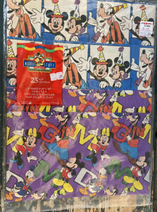 Cleo Vintage Disney's 1996 Mickey's Stuff for Kids Gift Wrap Wrapping Paper 25sq