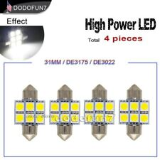 "4pc White Festoon 31mm 1.22"" 6-SMD Dome or Map LED Lights DE3175 3021 3022"