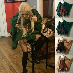 Halloween Women Medieval Cosplay Costumes Gothic Retro Long Sleeve Corset Dress