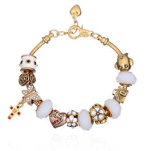 NEW MC Gold Cross White Flower Murano Beads European Charm Heart Clasp Bracelet