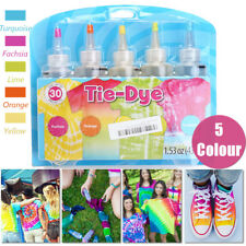 5 Colors Tie-Dye Kit Neon w/ 40 x Rubber Bands + 4 pairs x Vinyl Gloves