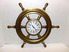 "Vintage 18 ""   Nautical Ships Wheel Wall Quartz Brass Clock"