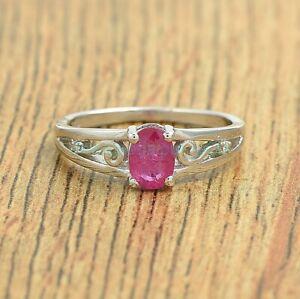 Oval Cut Ruby Gemstone 925 Sterling Silver Eternity Ring Jewelry Size US 4-8