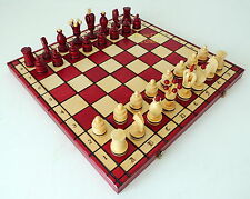 BRAND NEW LARGE HANDCRAFTED BORDEAUX RED KINGS WOODEN CHESS SET 49CM