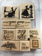 Stampin Up Rare Retired Set Vintage Post Card To From Snail Mail Thank You EUC!