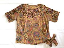 1920s Paisley Antique Beaded Flapper Blouse Large As Is