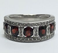 Vintage Sterling Silver Ring 925 Size 7.5 DK China Red Stone Garnet Band