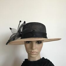 Ladies Black & Beige Floral Elegant Organza Formal Race Wedding Hat H349