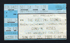 1989 Rolling Stones Guns N' Roses concert ticket stub Steel Wheels Los Angeles