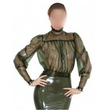 006 Latex Rubber Gummi Dress one piece puff-sleeve skirt fitted customized 0.4mm
