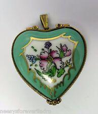 Limoges France Peint Main Rochard Floral Heart Locket/Pendant Trinket/Pill Box