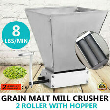 Manual Malt Mill Crusher Barley Grain Grinder W/2 Rollers fr Home Brew Beer Mill
