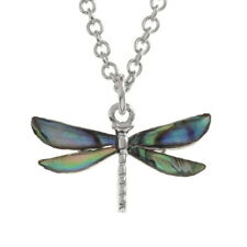 Abalone Paua Shell Dragonfly Design Silver Plated Necklace Pendant Fashion
