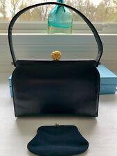 New listing Vtg Original Coblentz Black Leather Handbag Gold Clasp And Change Purse