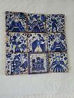 Vintage Spanish Hand Painted Cobalt Blue White Tiles Medieval Scenes Lot of 9