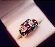 2015 Luxury Women Colourful Rhinestone Crystal Finger Dazzling Ring Jewelry Gift