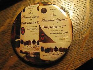Bacardi Santiago De Cuba Rum Bermuda Bottle Advertisement Logo Pocket Mirror