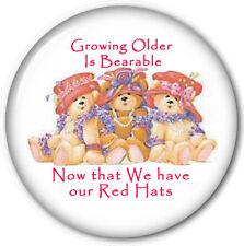 """PURSE MIRROR W/ ORGANZA BAG RED HAT LADIES ART """"GROWING OLDER IS BEARABLE"""" 3 IN"""