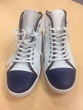 $1100 Giorgio Armani white and blue sneakers, size 10 UK