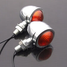 2x Universal Bullet Motorcycle Chrome Turn Signal Indicator Amber Blinker Lights