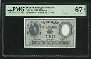 Sweden : 10 Kronor 1959 ; PMG : Superb Gem UNC 67 ; EPQ
