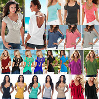 Womens Cold Shoulder T-Shirt Tops Short Sleeve Summer Casual Tee Shirts Blouse