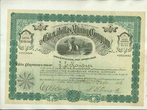 1888 GUAYABILLAS MINING COMPANY YUSCARAN HONDURAS NEW YORK STOCK CERTIFICATE