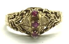 Vintage Victorian 14K Yellow Gold Red Ruby Floral Swirl Pattern Cocktail Ring