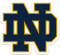 Notre Dame Fighting Irish Classic Blue & Gold signature ND Letters Type MAGNET