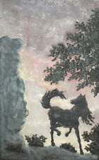 Vintage Hand Made Painted Plaster Wall Decor Plaque Horse Landscape