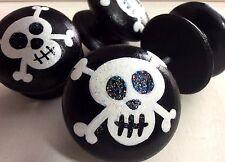 Handpainted Large Black & White Pirate Skull & Crossbones Drawer Knobs x 4