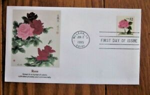 ROSE FLOWER JAPANESE WOOD BLOCK PRINT  1995  FLEETWOOD CACHET FDC VF UNADDR
