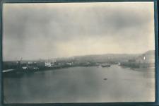 Europe, Bateaux et paquebots dans un port, ca.1903, vintage silver print Vintage