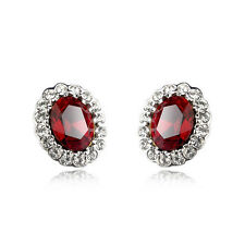 LOVELY 18K WHITE GOLD PLATED GENUINE RUBY RED CZ/AUSTRIAN CRYSTAL STUD EARRINGS
