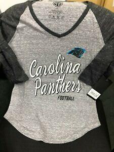 Women's Small CAROLINA PANTHERS Distressed Raglan Shirt 3/4 Length NFL mccaffrey