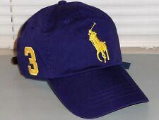 POLO RALPH LAUREN Men's Big Pony Chino Baseball Cap Hat, LEATHER STRAP, Purple
