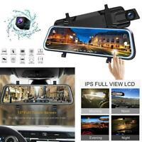 Full HD 1080P Mirror Dash Cam Video Recorder Smart Car Front Rear Dual Lens Top