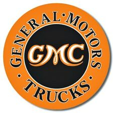 "GMC Trucks 12"" Round Tin Sign Nostalgic Metal Sign Retro Home Garage Wall Decor"