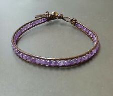 Amethyst  Bean Leather Anklet