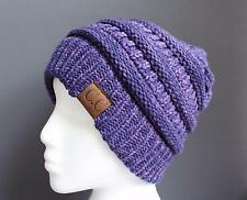 Dark Purple ski hat chunky thick knit slouch cap beanie winter crochet hat