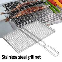 Stainless Steel Mesh Folder Grill Fish Rack Barbecue Net Accessories BBQ H0F5