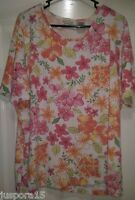 White Stag Womens White Pink Green Orange Floral Shirt Top Blouse Size 22W 24W