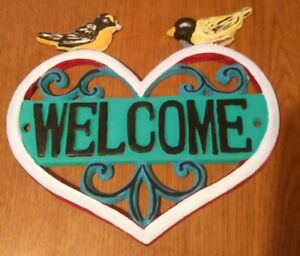"7.5"" Cast Iron Rustic Country Finch Oriole Birds Welcome Sign Wall Decor"