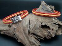 2 unidades Pulsera bandera España Española pulseras cordon hilo trenzado ajusta