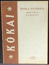 Partition / Score Rezso Kokai Burla ostinata Musica Budapest 1964 TBE