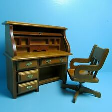Dollhouse Miniature Wood Working Roll Top Desk with Chair in Walnut 05298