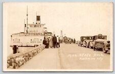 Mackinaw City Michigan~State Dock~Ferry Sainte Ignace~1920s Cars~Truck~RPPC