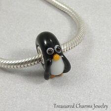 Penguin Bird Lampwork Glass Large Hole Bead Charm fits European Bracelets